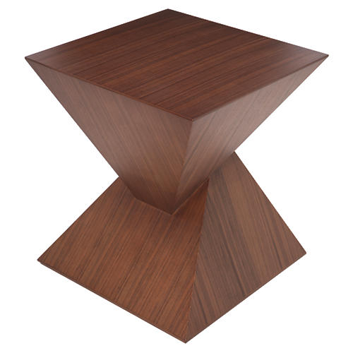 Giza Square Side Table, Tan/Walnut