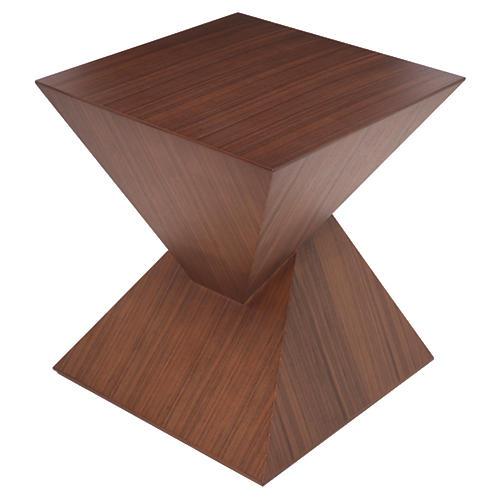 Giza Square Side Table, Tan/Walnut