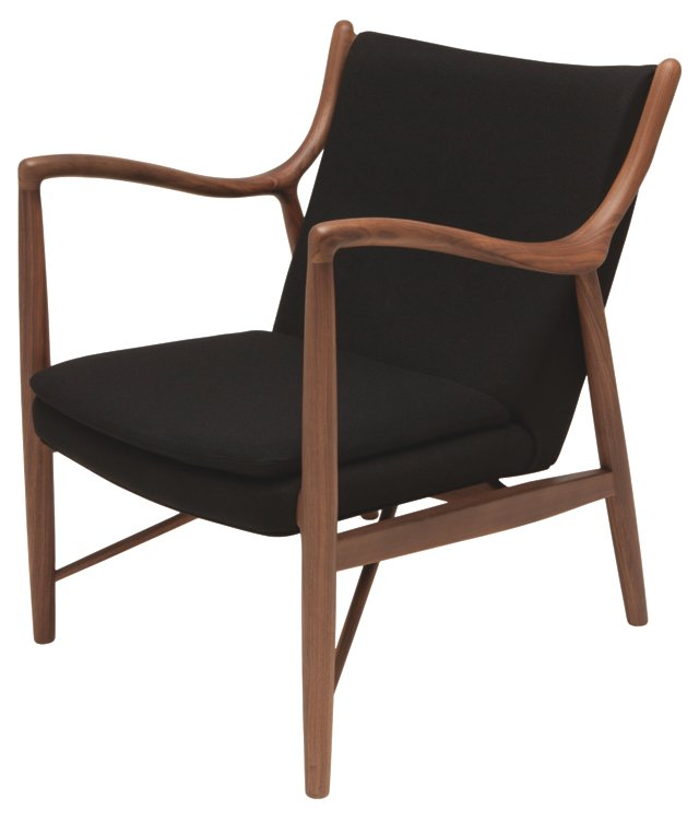 Corbin Lounge Chair, Black/Silver