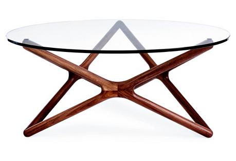 Star Glass Coffee Table, Walnut