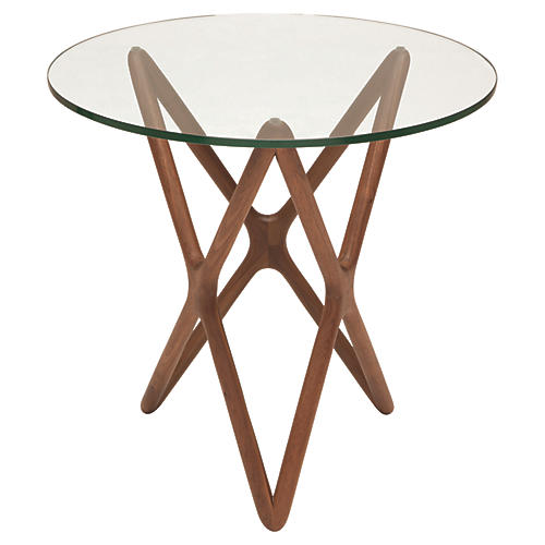 Star Modern Glass Side Table, Walnut