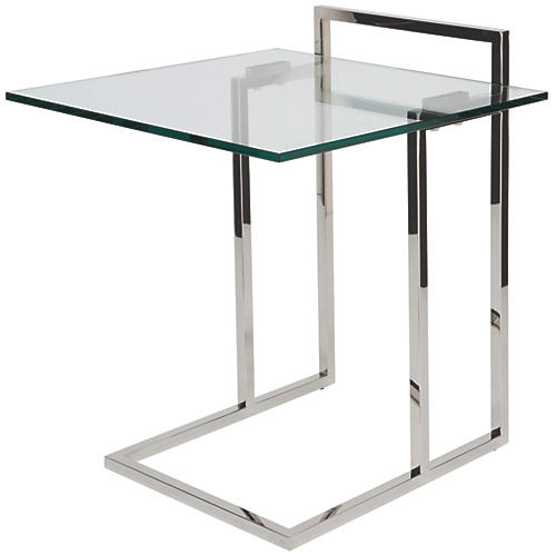 Enna Glass Side Table, Silver