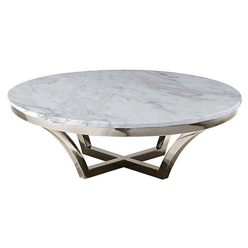 Santorini Brushed Gold Gloss White Coffee Table: One Kings Lane