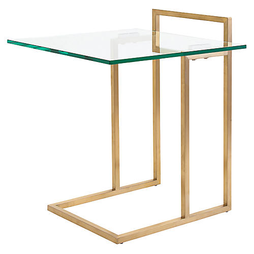 Enna Cantilever Side Table, Gold