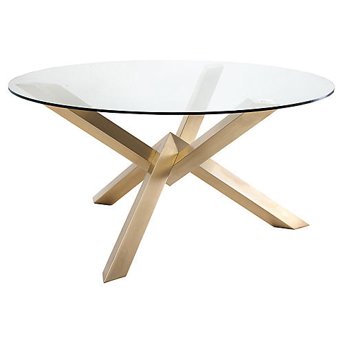 "Costa 60"" Dining Table, Clear/Gold"