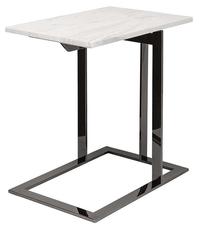 Dell Side Table, White/Black