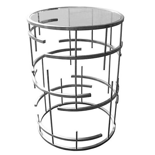 "22"" Loyola Side Table, Stainless Steel"