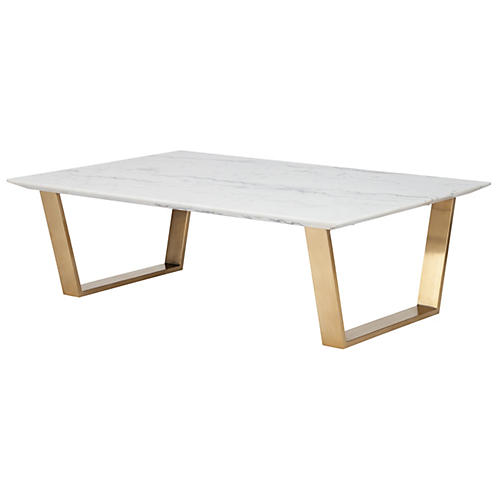 Bayou Coffee Table, White Marble/Gold