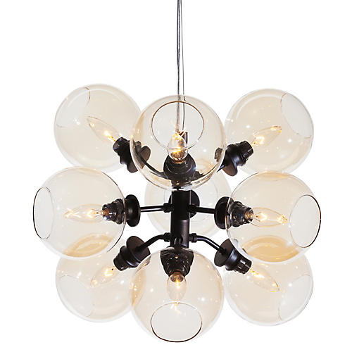 9-Light Atom Pendant, Champagne