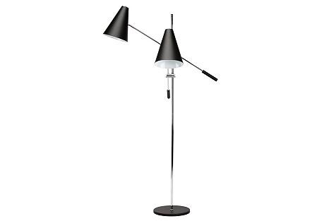 2-Light Tivat Floor Lamp, Black