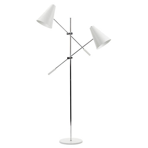 2-Light Tivat Floor Lamp, White