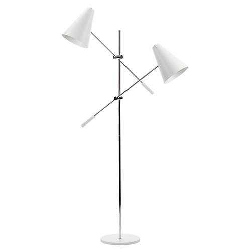 2-Light Tivat Floor Lamp, White