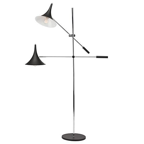 2-Light Parma Floor Lamp, Black