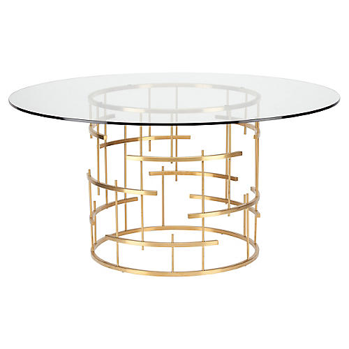 "Sasha 59"" Round Dining Table, Gold"