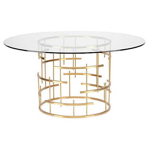 "Sasha 59"" Round Dining Table, Gold"