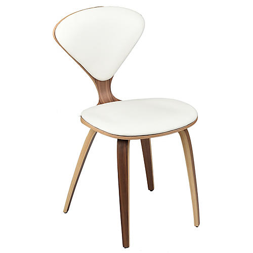 Satine Side Chair, White Leather