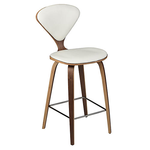 Satine Counter Stool, White Leather