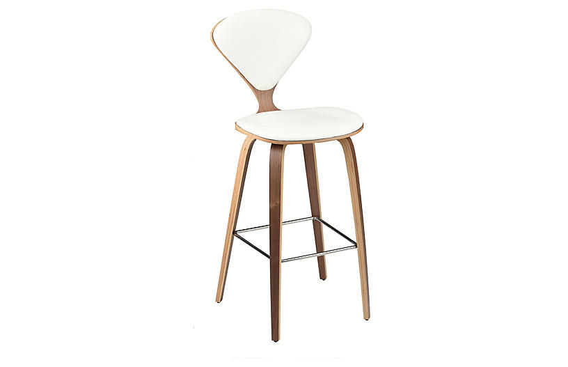 Satine Barstool, White Leather