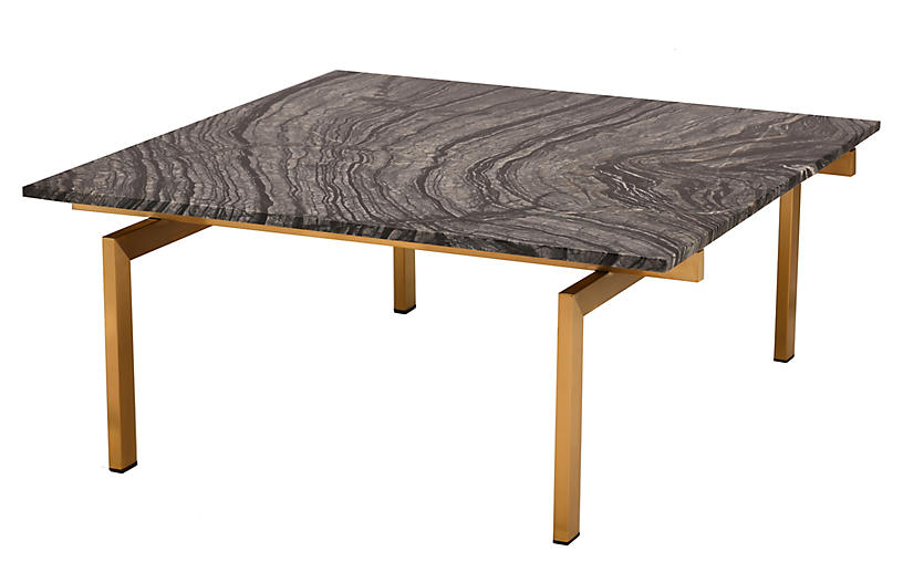 Louve Square Coffee Table, Black/Gold