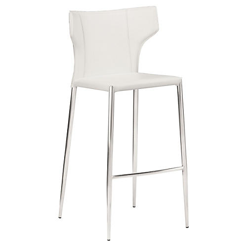 Wayne Counter Stool, White Leather
