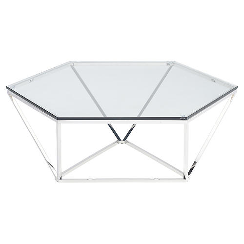 Louisa Coffee Table, Clear/Silver