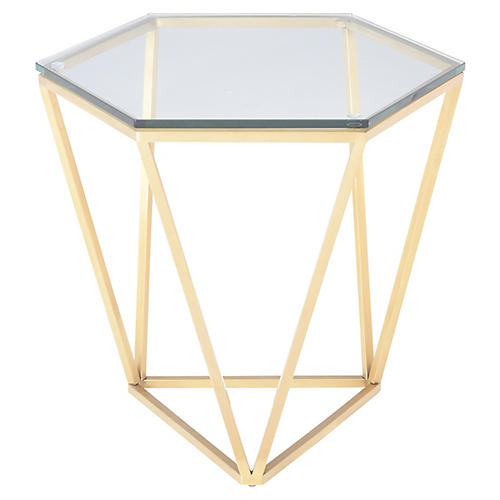 Louisa Side Table, Clear/Gold