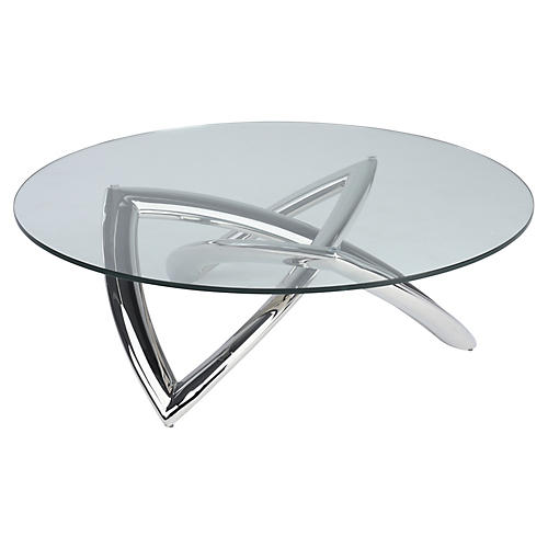 Martina Coffee Table, Clear/Silver