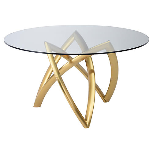 Martina Dining Table, Clear/Gold