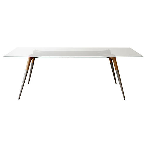 Assembly Dining Table, Silver/Natural