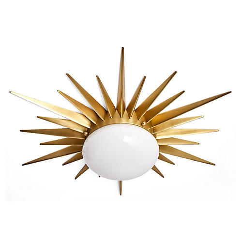 Solana Flush Mount, Brass