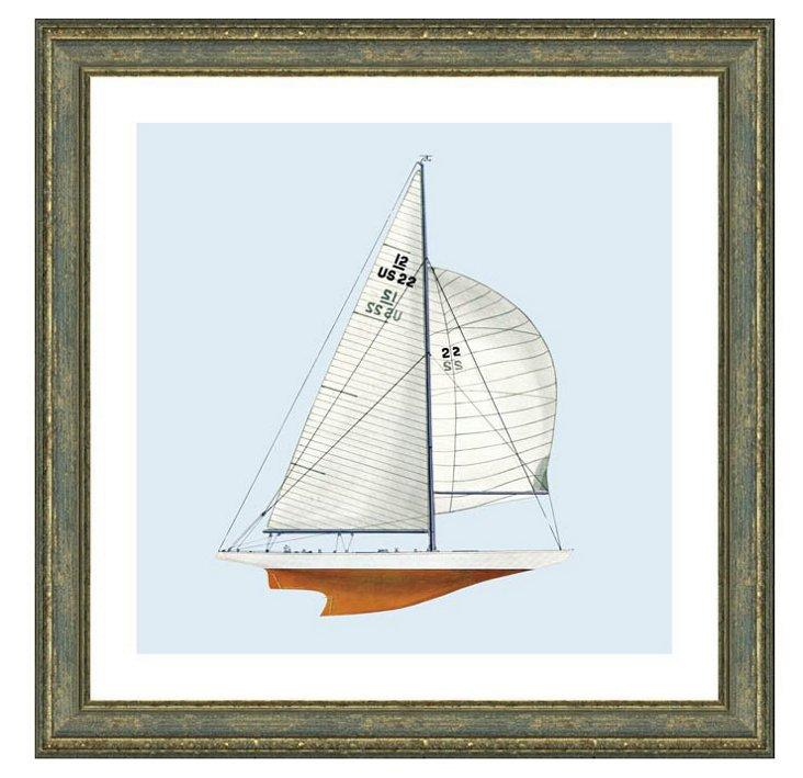 Rustic Gray Framed Sailboat Print I
