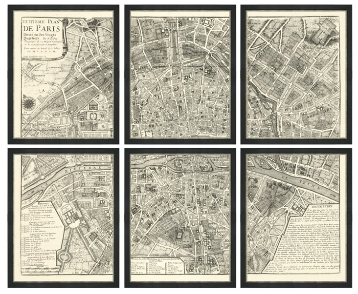 Map of Paris, Set of 6