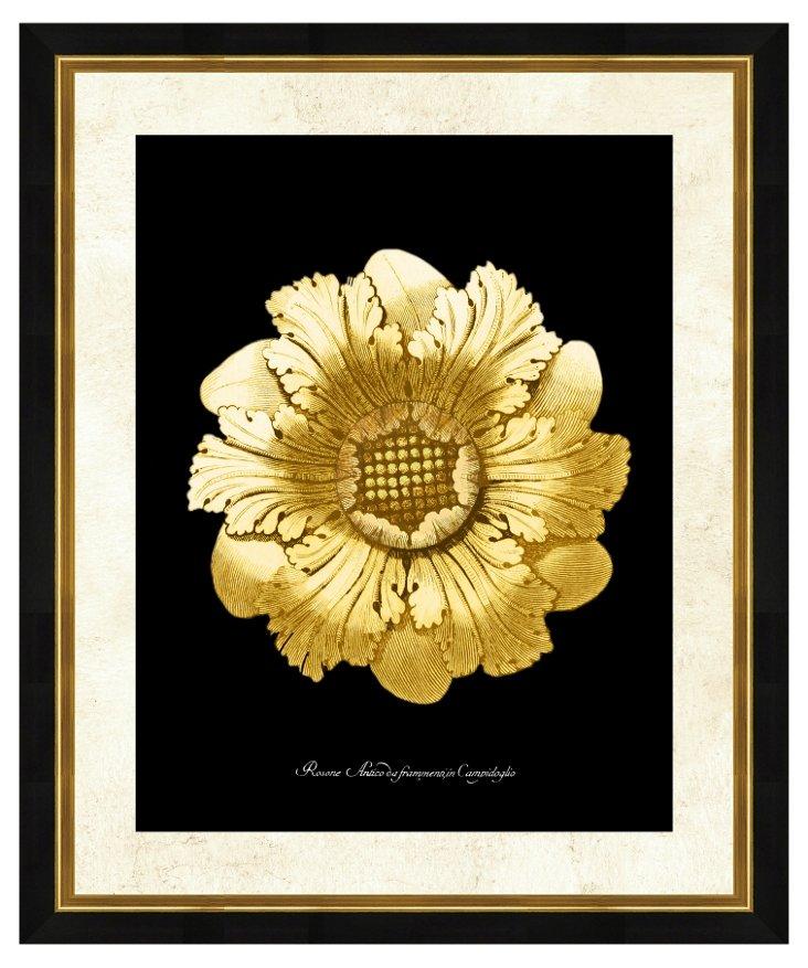 Gold and Black Rosette Print I
