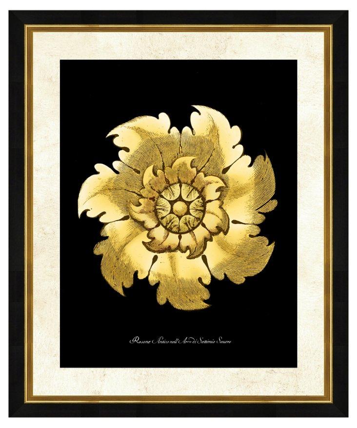 Gold and Black Rosette Print II