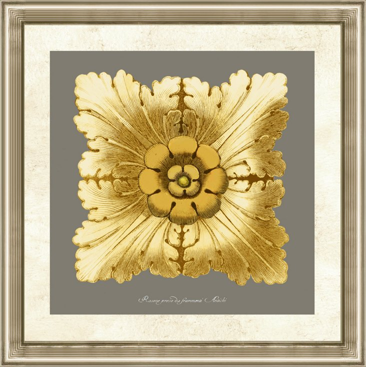 Gold and Gray Rosette Print I