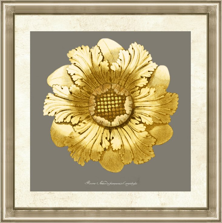 Gold and Gray Rosette Print II