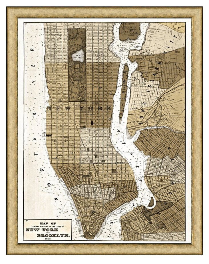 New York City Sepia Map