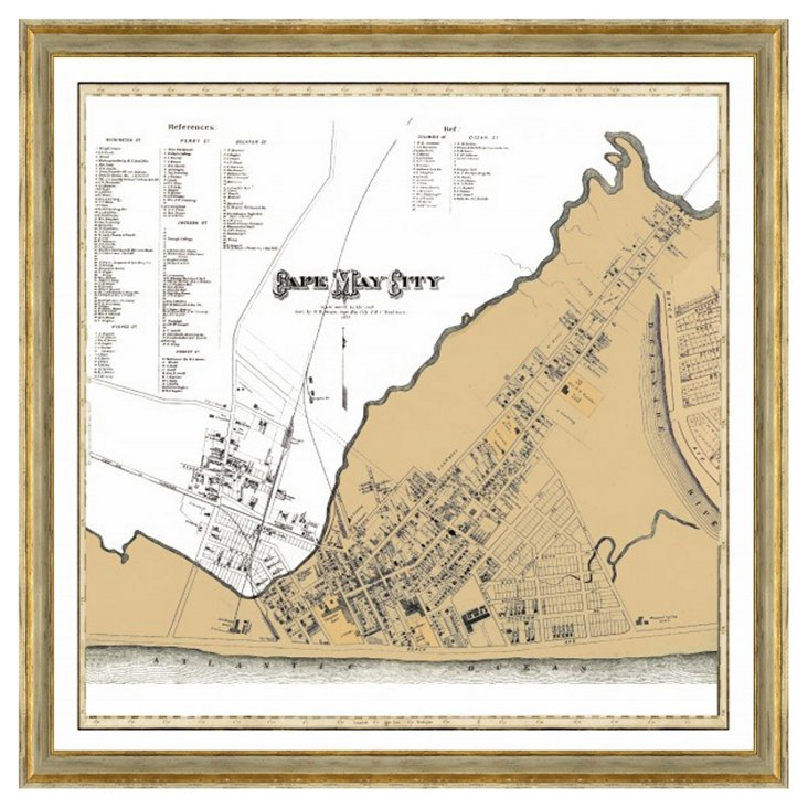 Gold Distress Framed Cape May City Map