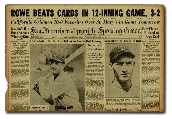 Original Golden Age Baseball Newspaper