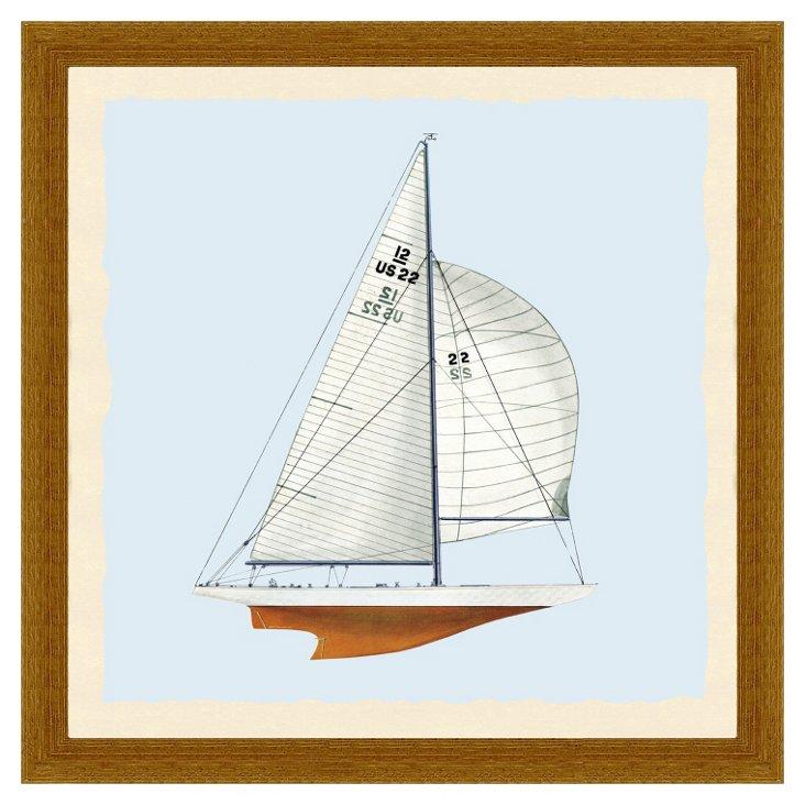 Wood Framed Sailboat Print I