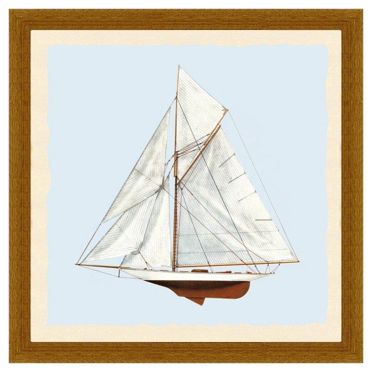 Wood Framed Sailboat Print II