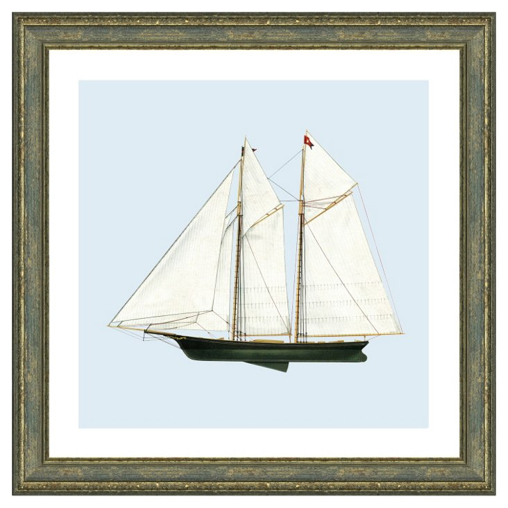 Rustic Gray Framed Sailboat Print