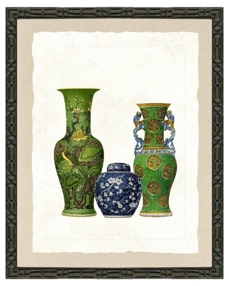 Ornate Black Framed Vase Print III