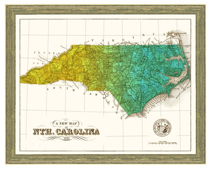 Rustic Framed North Carolina Print