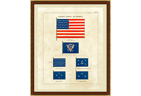 Nautical United States Flag Print I