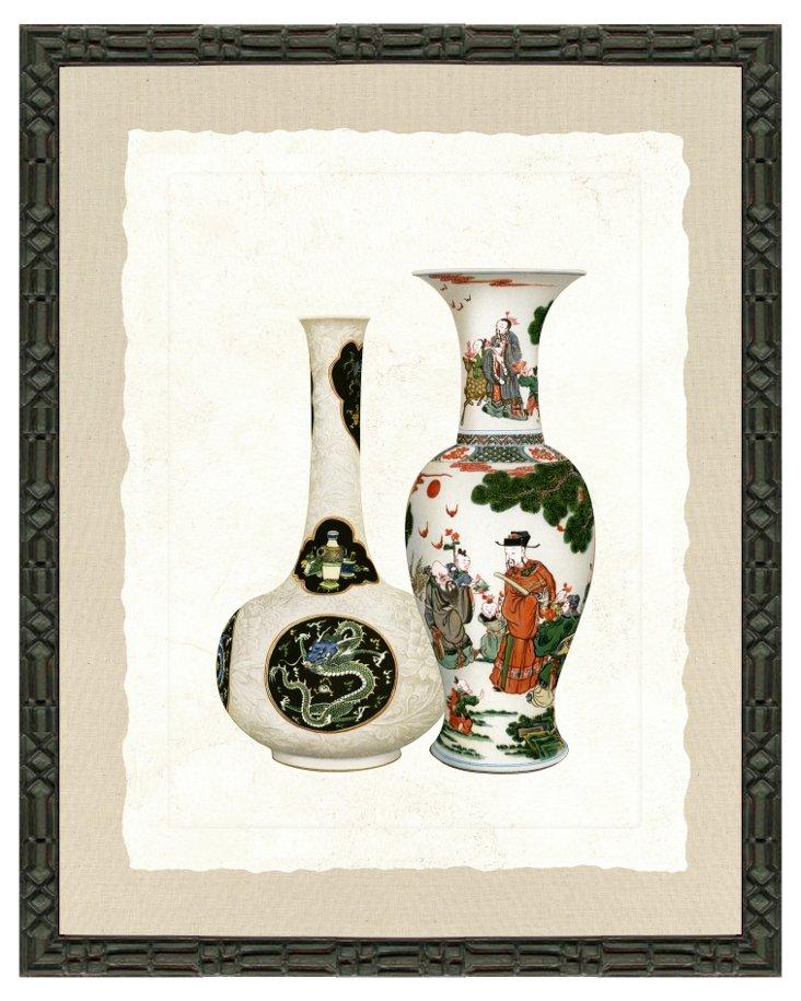 Decorative Black Framed Vase Print II