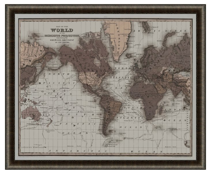 Dark Wood Framed World Map Print