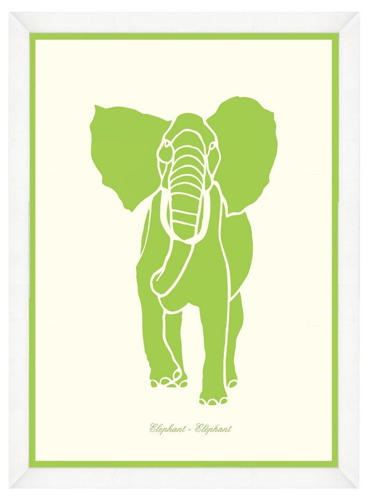 White Framed Elephant Stencil Print