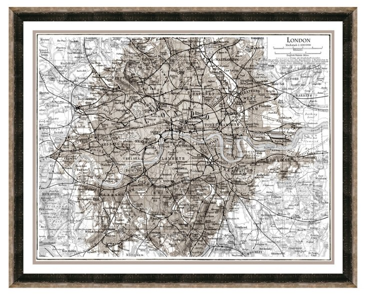 Silver and Black Framed London Print