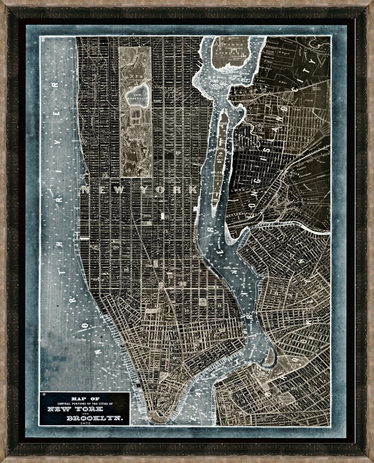 Black and Silver Denim New York Map